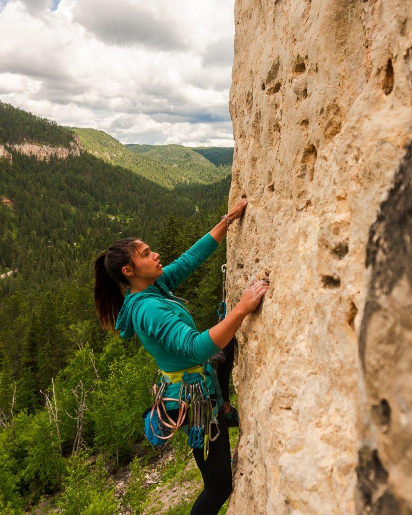 Gabi Robledo, climbing Spearfish